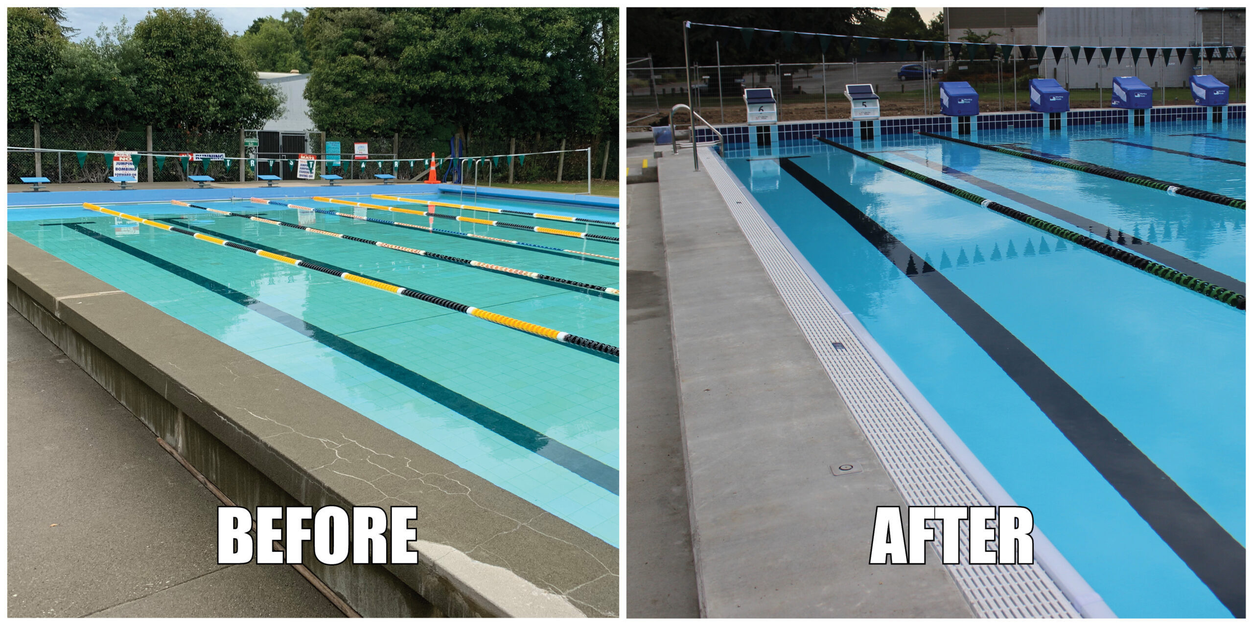 Before and after image of outdoor pool